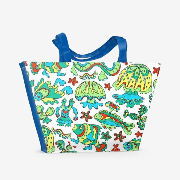 Пляжная сумка «Фантастические морские существа. Бесшовный паттерн.»