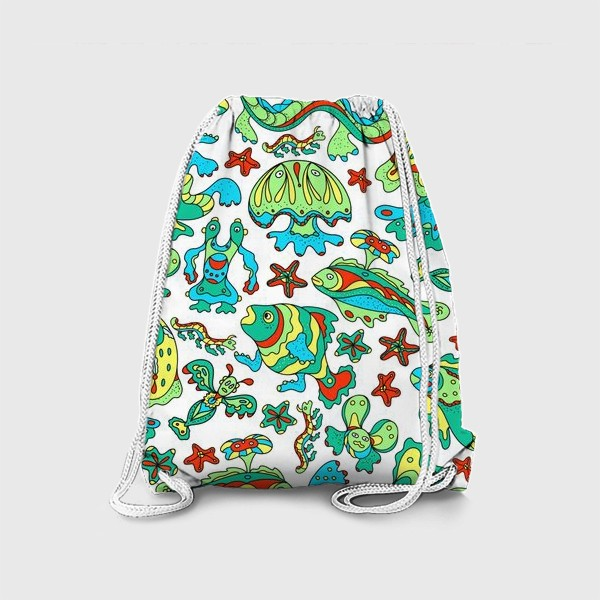 Рюкзак «Фантастические морские существа. Бесшовный паттерн.»