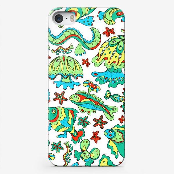 Чехол iPhone «Фантастические морские существа. Бесшовный паттерн.»