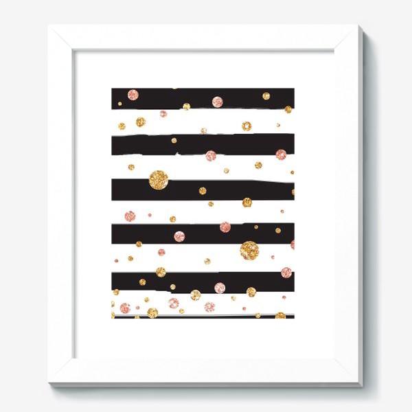 Картина «Черные полоски и глиттер»