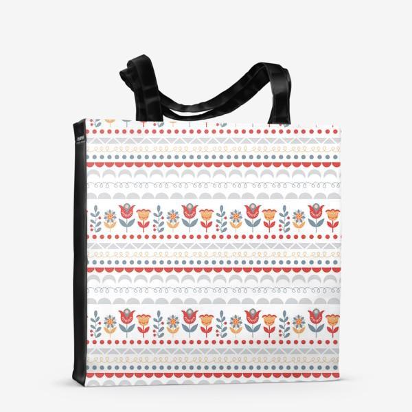 Сумка-шоппер «Декоративный паттерн в скандинавском стиле с цветами и узорами»