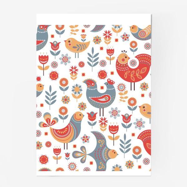 Постер «Птички с орнаментом, цветы на белом фоне. Скандинавский стиль.»
