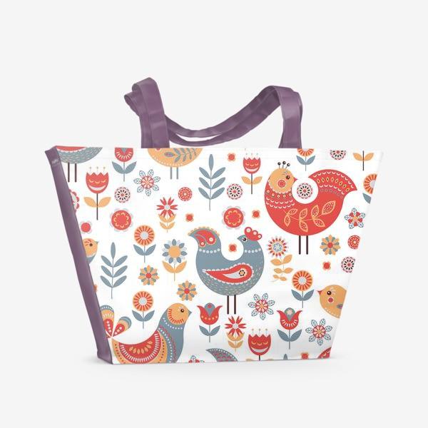 Пляжная сумка «Птички с орнаментом, цветы на белом фоне. Скандинавский стиль.»