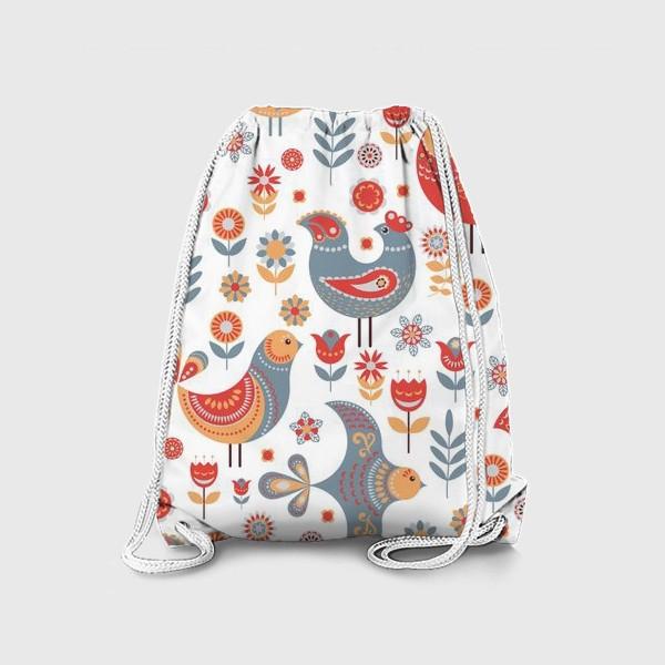 Рюкзак «Птички с орнаментом, цветы на белом фоне. Скандинавский стиль.»