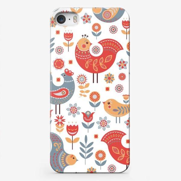 Чехол iPhone «Птички с орнаментом, цветы на белом фоне. Скандинавский стиль.»