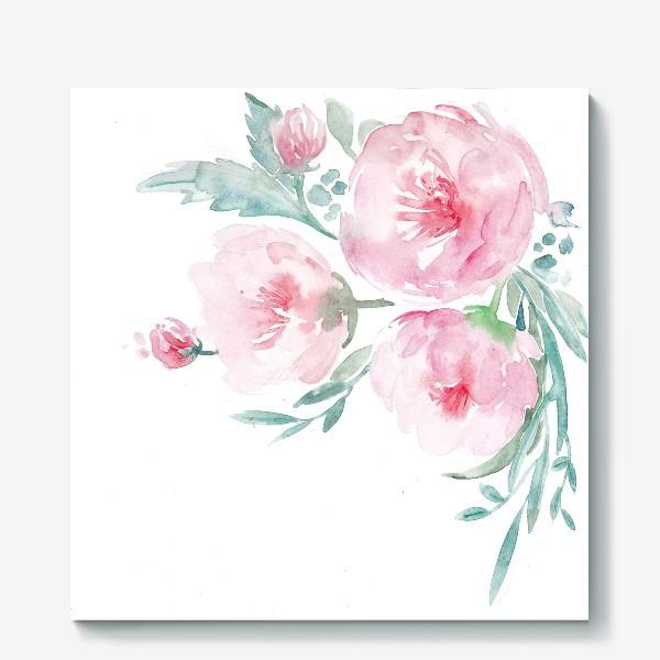Холст «Нежно-розовые пионы»