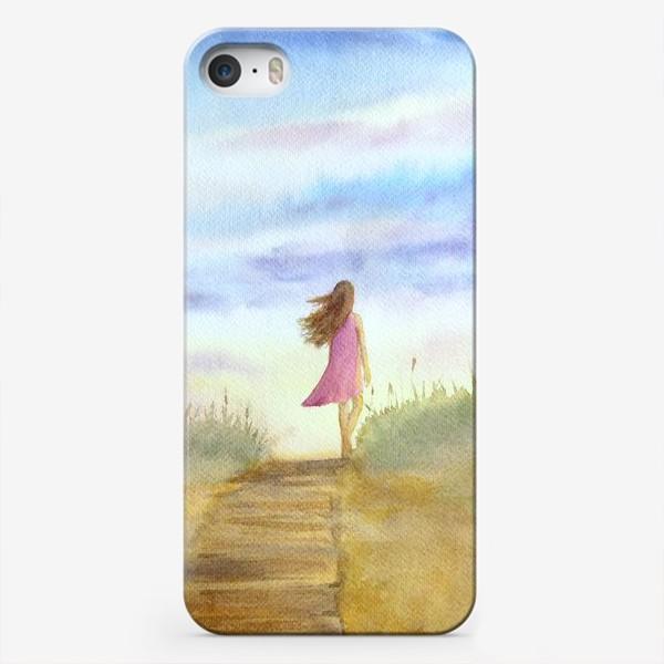 """Чехол iPhone «""""Путь к себе"""". (Девушка идущая по пляжу на фоне заката). Картина акварель. Лето, море, отдых »"""