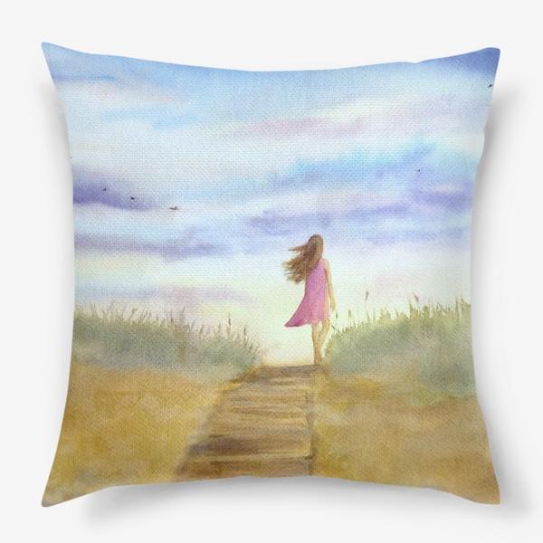"""Подушка «""""Путь к себе"""". (Девушка идущая по пляжу на фоне заката). Картина акварель. Лето, море, отдых »"""