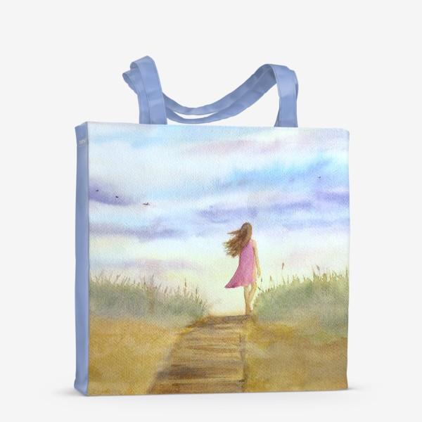 """Сумка-шоппер «""""Путь к себе"""". (Девушка идущая по пляжу на фоне заката). Картина акварель. Лето, море, отдых »"""