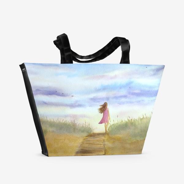 """Пляжная сумка «""""Путь к себе"""". (Девушка идущая по пляжу на фоне заката). Картина акварель. Лето, море, отдых »"""