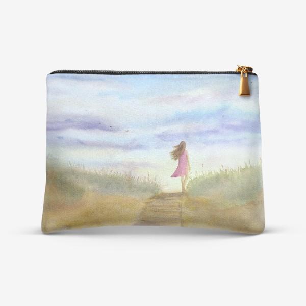 """Косметичка «""""Путь к себе"""". (Девушка идущая по пляжу на фоне заката). Картина акварель. Лето, море, отдых »"""
