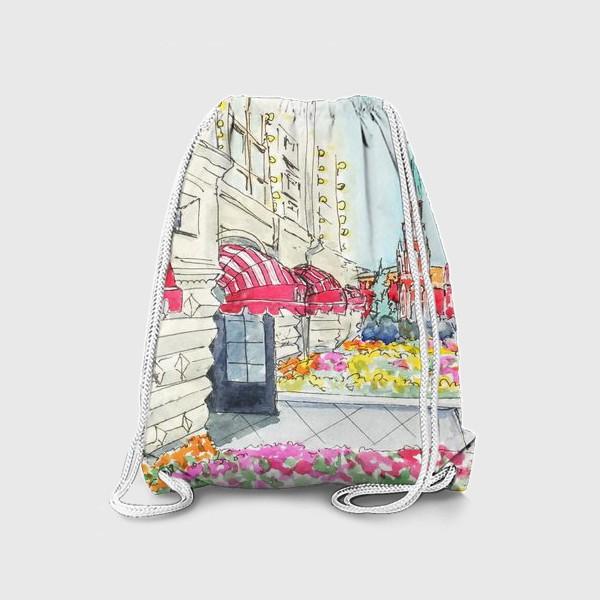 Рюкзак «Летняя Москва. Городской акварельный скетч, вид на Кремль и ГУМ»