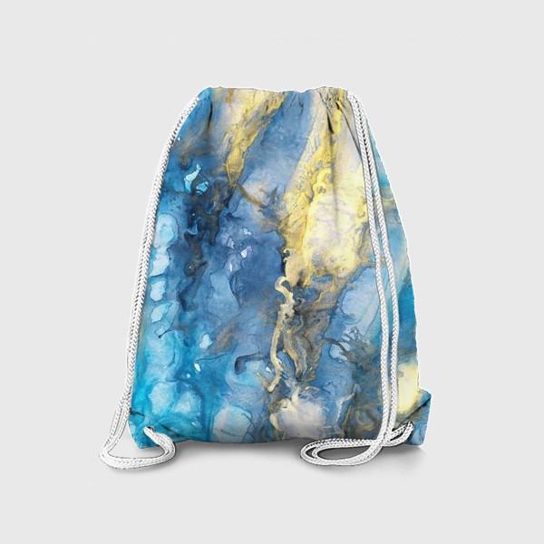Рюкзак «Море. Абстракция, современная авторская акварель, жидкая техника. Голубой и золотой цвета, небо, звезды»