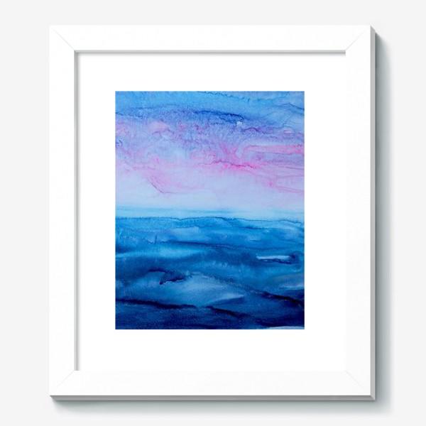 Картина «Закат на море. Абстракция, современная акварель, жидкая техника, голубой и розовый цвета, волны, небо, лето»