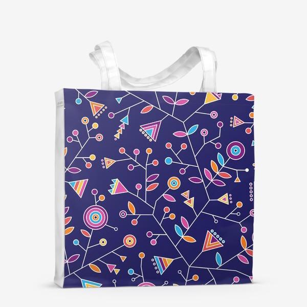 Сумка-шоппер «Стилизованные радужные цветы на фиолетовом фоне»