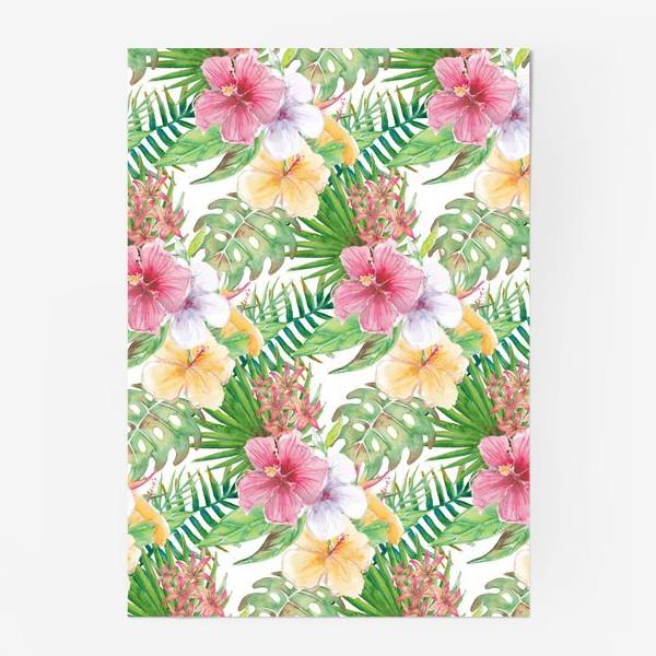 Постер «Тропические цветы - паттерн»