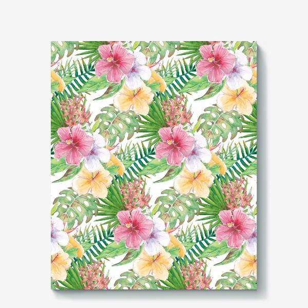 Холст «Тропические цветы - паттерн»