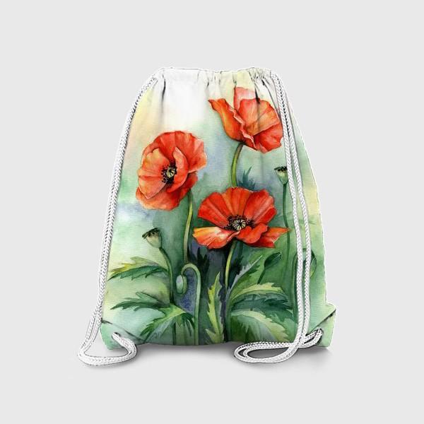 Рюкзак «Маки акварельная живопись»