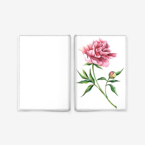 Обложка для паспорта «пион акварельный рисунок»