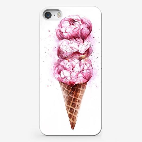 Чехол iPhone «Мороженое с пионами»