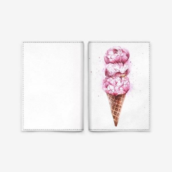 Обложка для паспорта «Мороженое с пионами»