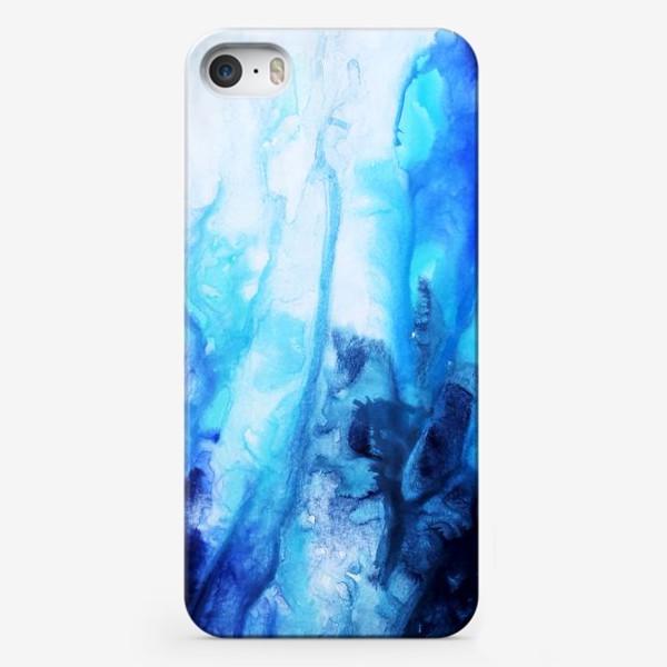 Чехол iPhone «Море, волны. Абстракция, современная акварель, жидкая техника, переливы синего, голубого, белого цвета»