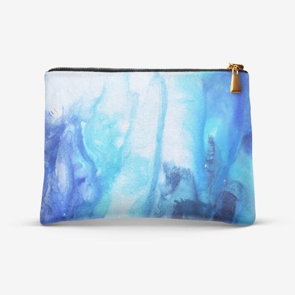 Косметичка «Море, волны. Абстракция, современная акварель, жидкая техника, переливы синего, голубого, белого цвета»