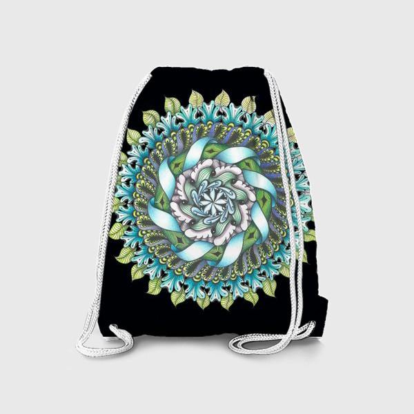 Рюкзак «весенняя мандала на черном фоне»