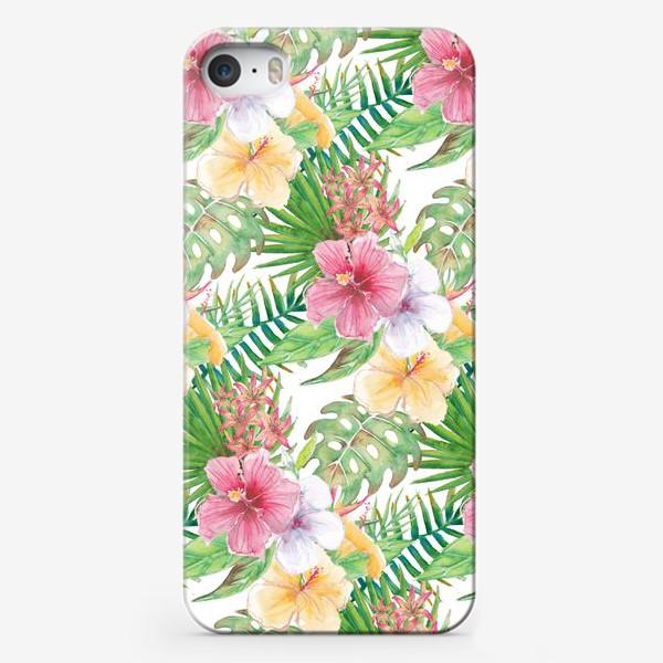 Чехол iPhone «Тропические цветы - паттерн»