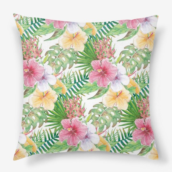 Подушка «Тропические цветы - паттерн»