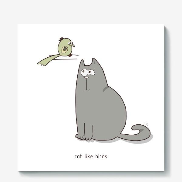 Холст «cat like birds»