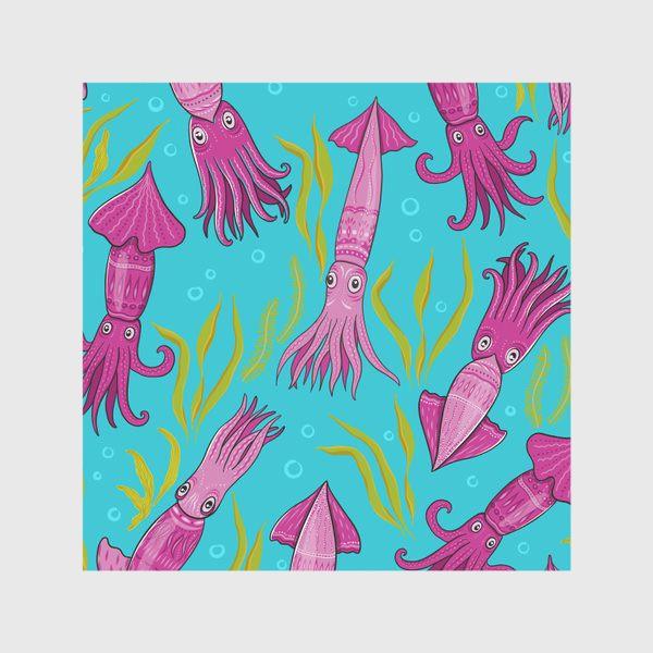 Скатерть «Сиренево-розовые кальмары с орнаментом на фоне моря. Кальмаро-паттерн.»
