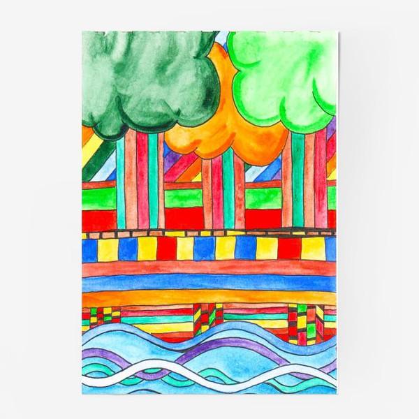 """Постер «Пейзаж """"Мост над рекой""""»"""