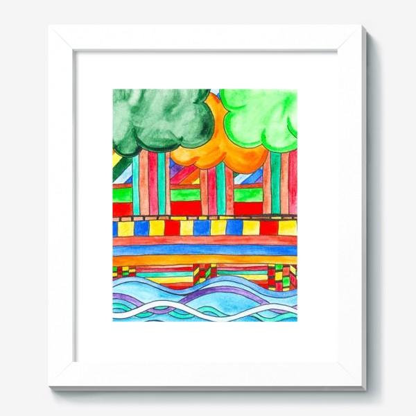 "Картина «Пейзаж ""Мост над рекой""»"