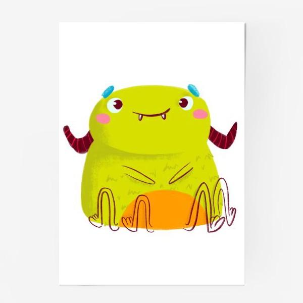 Постер «kawaii green monster»