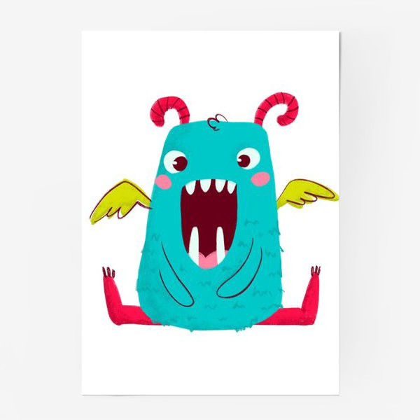Постер «cute monster with wings»