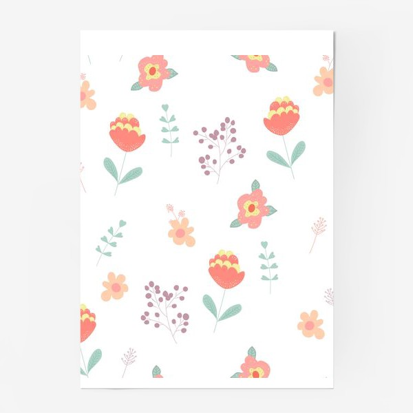 Постер «Летние цветы. Паттерн»