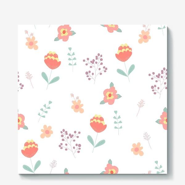 Холст «Летние цветы. Паттерн»