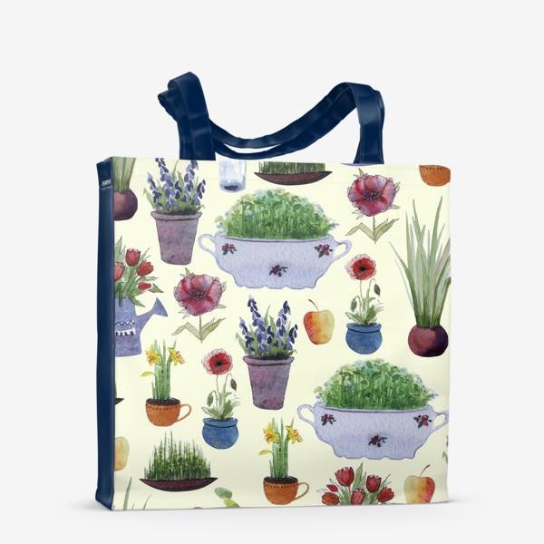Сумка-шоппер «Растения в горшках и лейках.»
