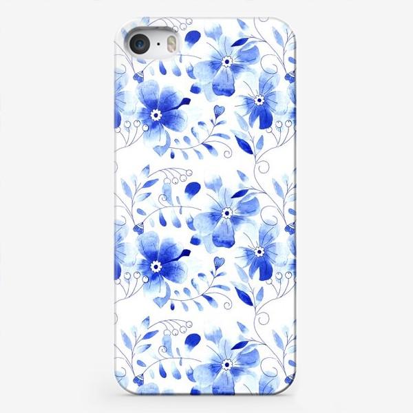Чехол iPhone «Паттерн Цветы Синие »