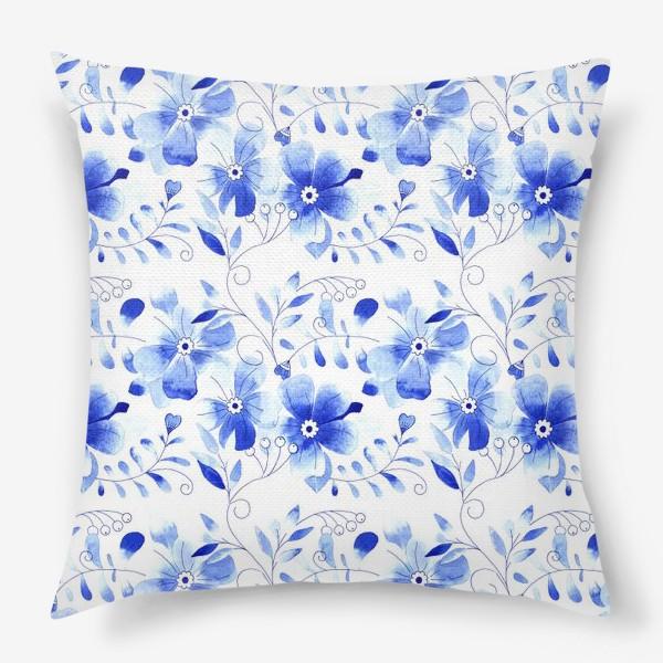 Подушка «Паттерн Цветы Синие »