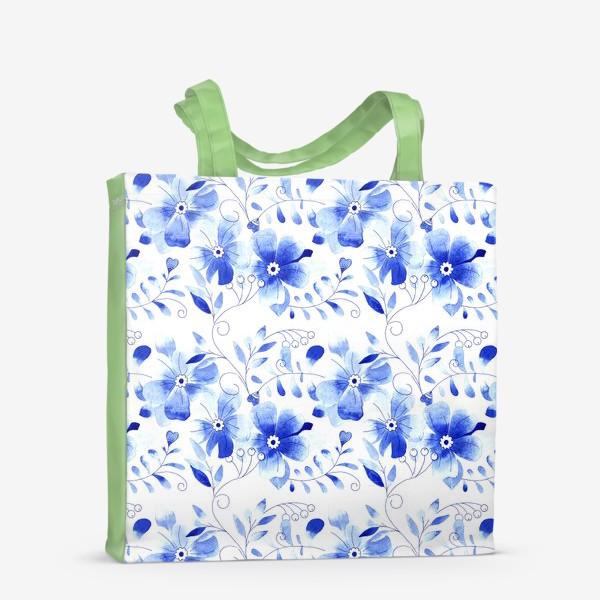 Сумка-шоппер «Паттерн Цветы Синие »