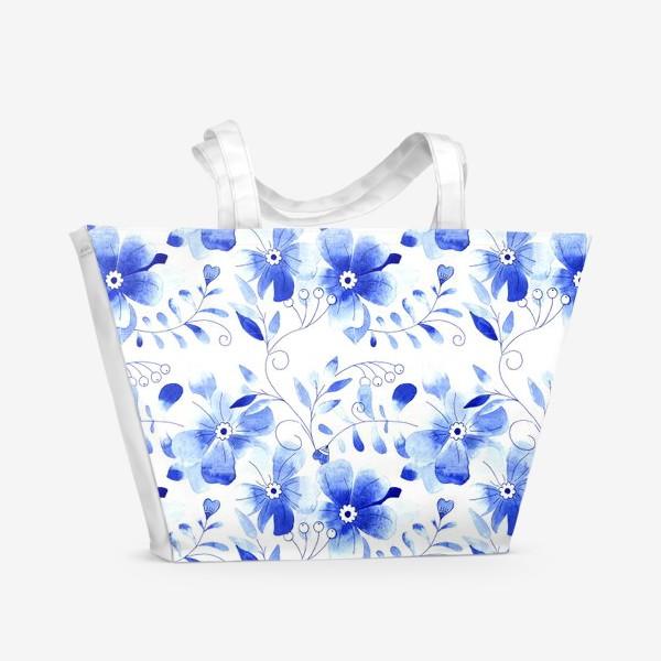 Пляжная сумка «Паттерн Цветы Синие »