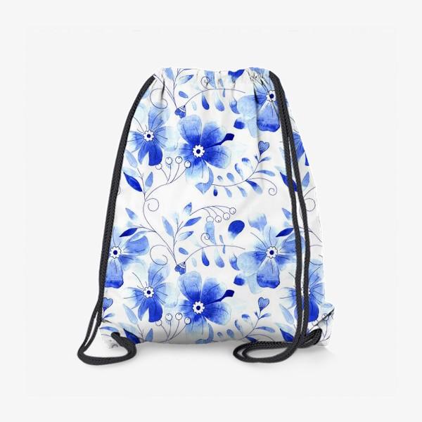 Рюкзак «Паттерн Цветы Синие »