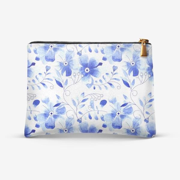 Косметичка «Паттерн Цветы Синие »