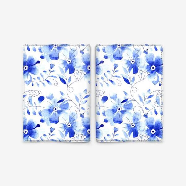 Обложка для паспорта «Паттерн Цветы Синие »