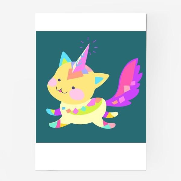 Постер «Маленький котик единорог»