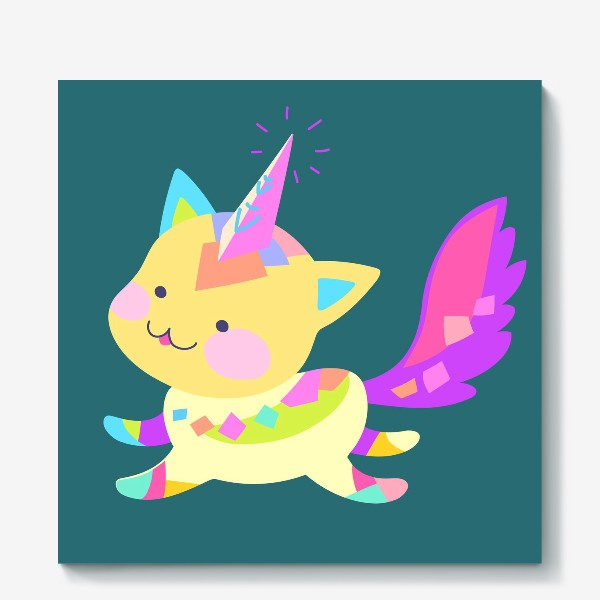 Холст «Маленький котик единорог»