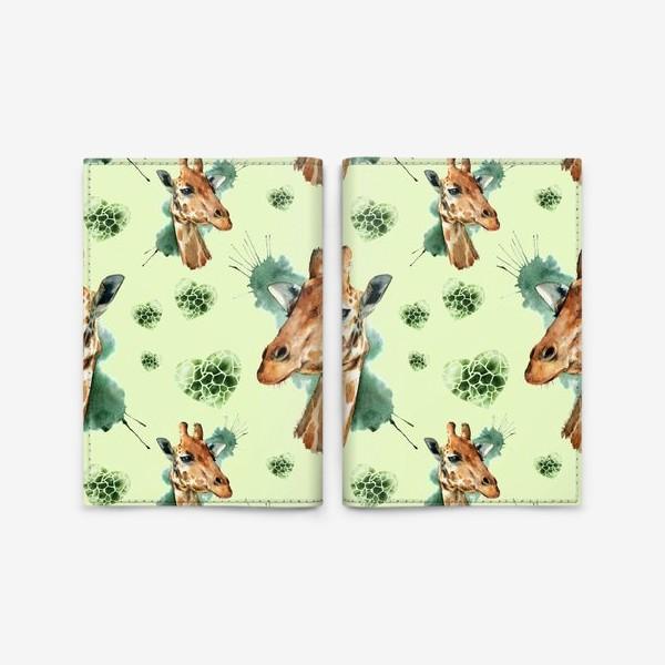 Обложка для паспорта «зеленый паттерн с жирафами»