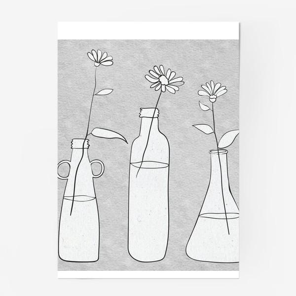 Постер «Цветы в бутылях на светлом фоне.»
